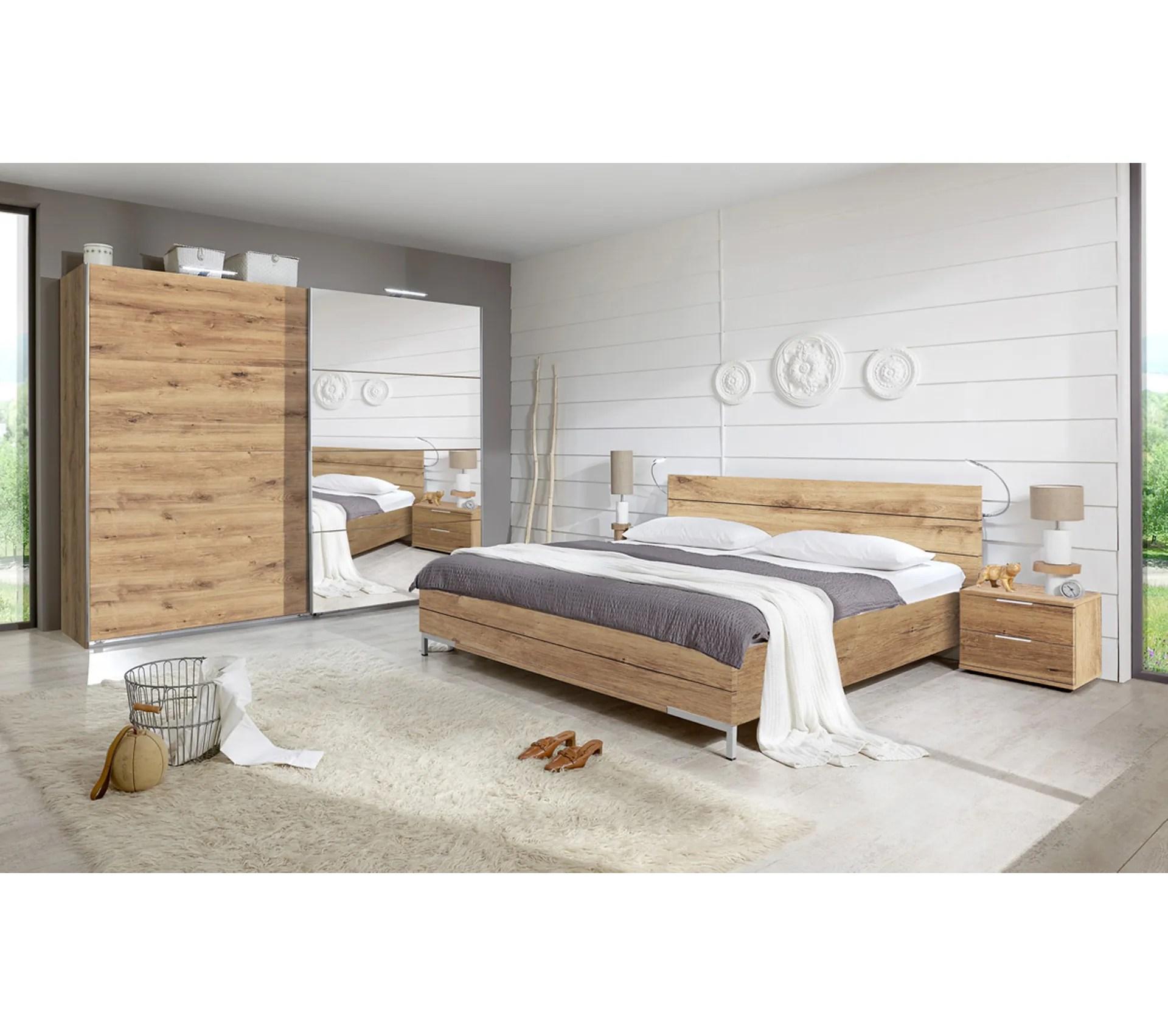 chambre a coucher imitation chene poutre dim 160 x 200 cm