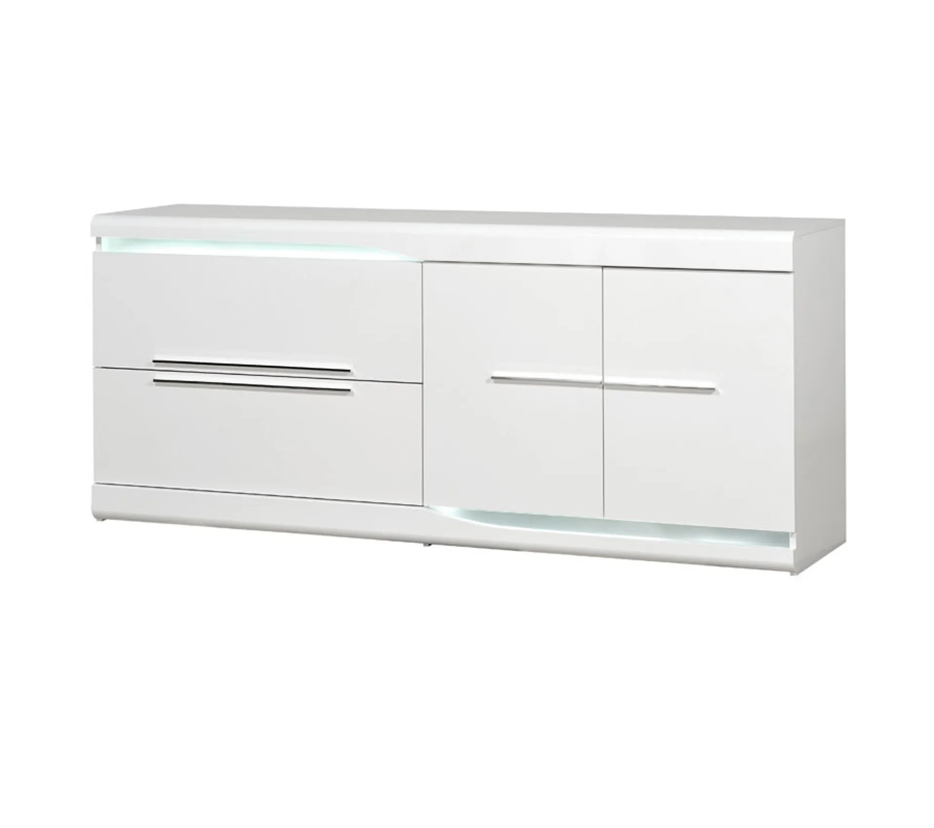 buffet 2 portes 2 tiroirs blanc laque brillant a leds pesmes