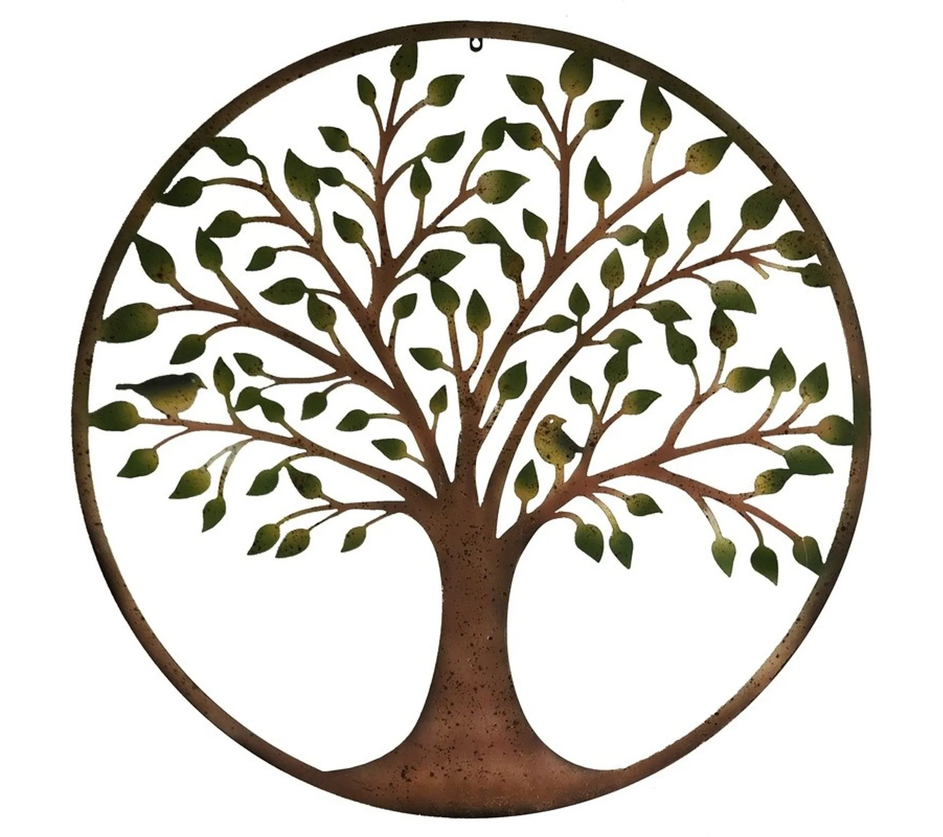 grand o99 cm fronton decoration murale metal fer rond arbre coloree