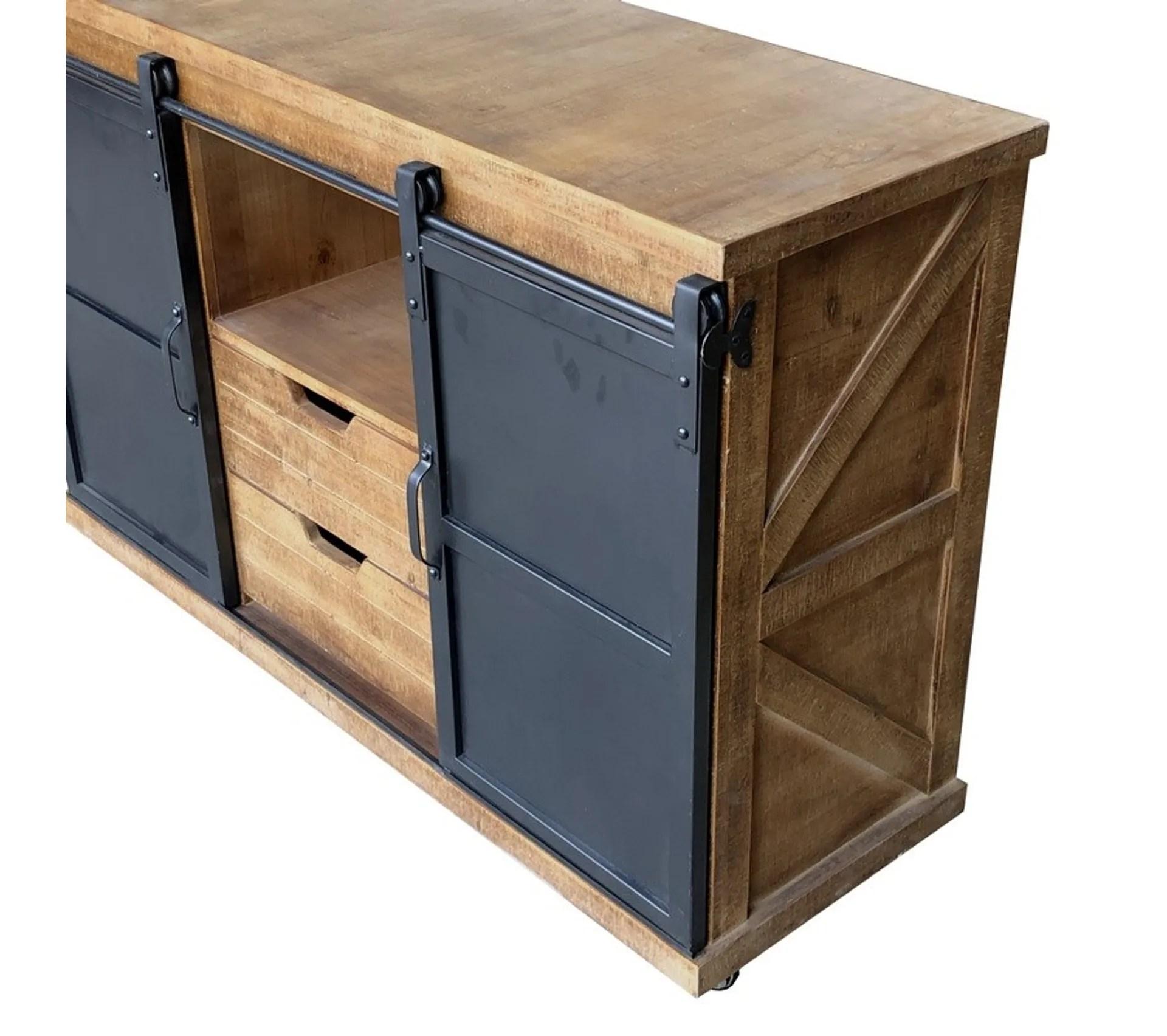 bahut commode portes coulissant industriel bois fer 120 cm x 82 cm x 39 cm