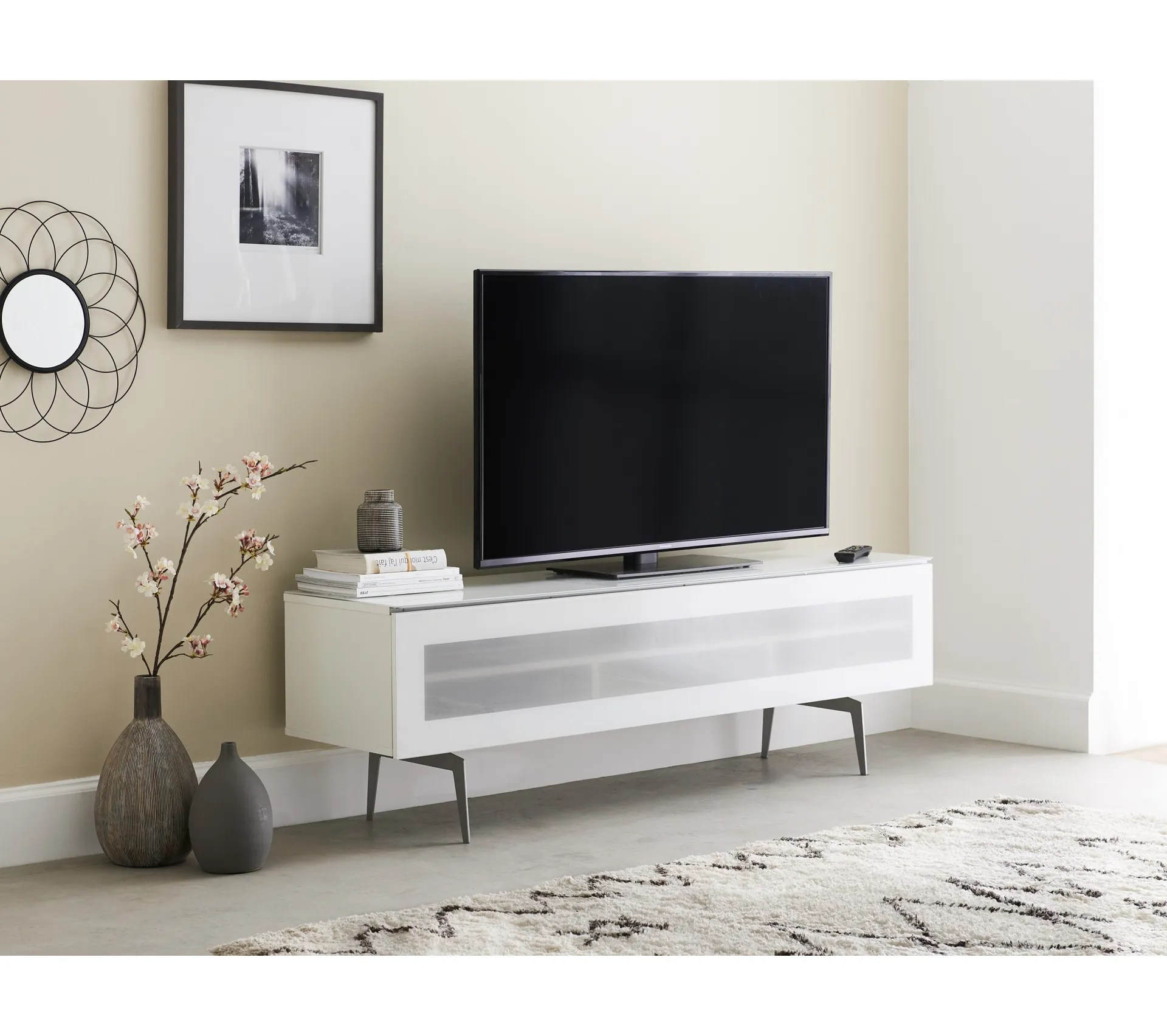 meuble tv l160 cm antoine porte verre infrarouge blanc