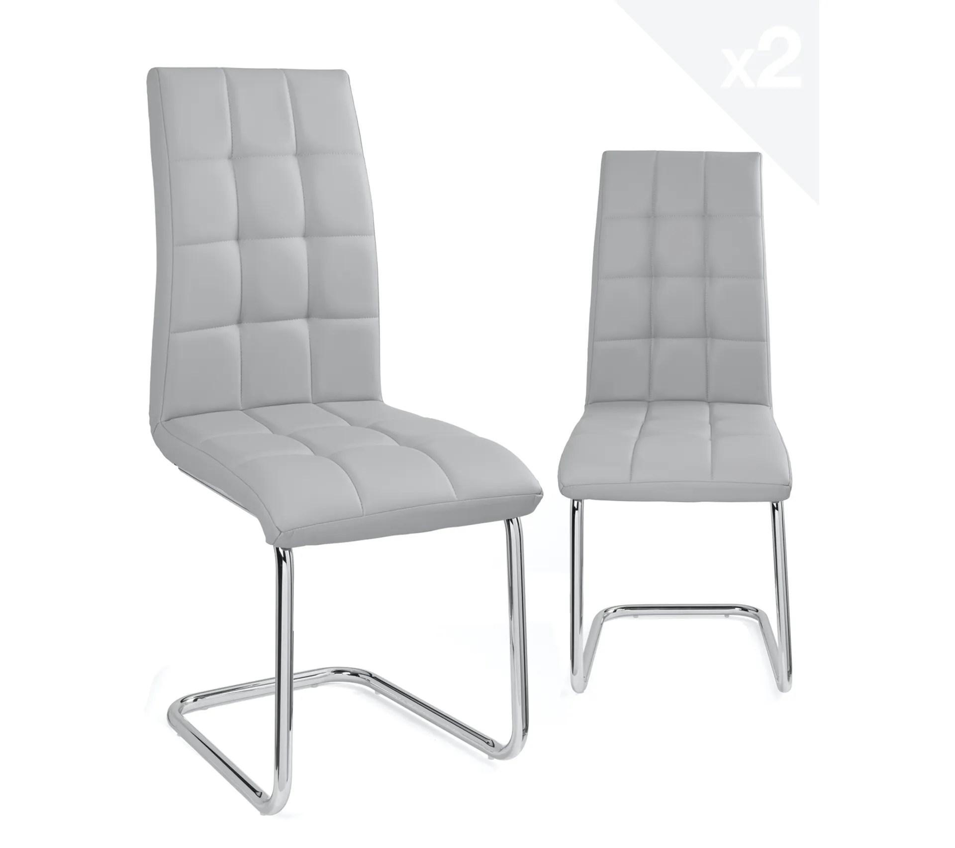 lot 4 chaises simili cuir matelassees salle a manger maxi gris