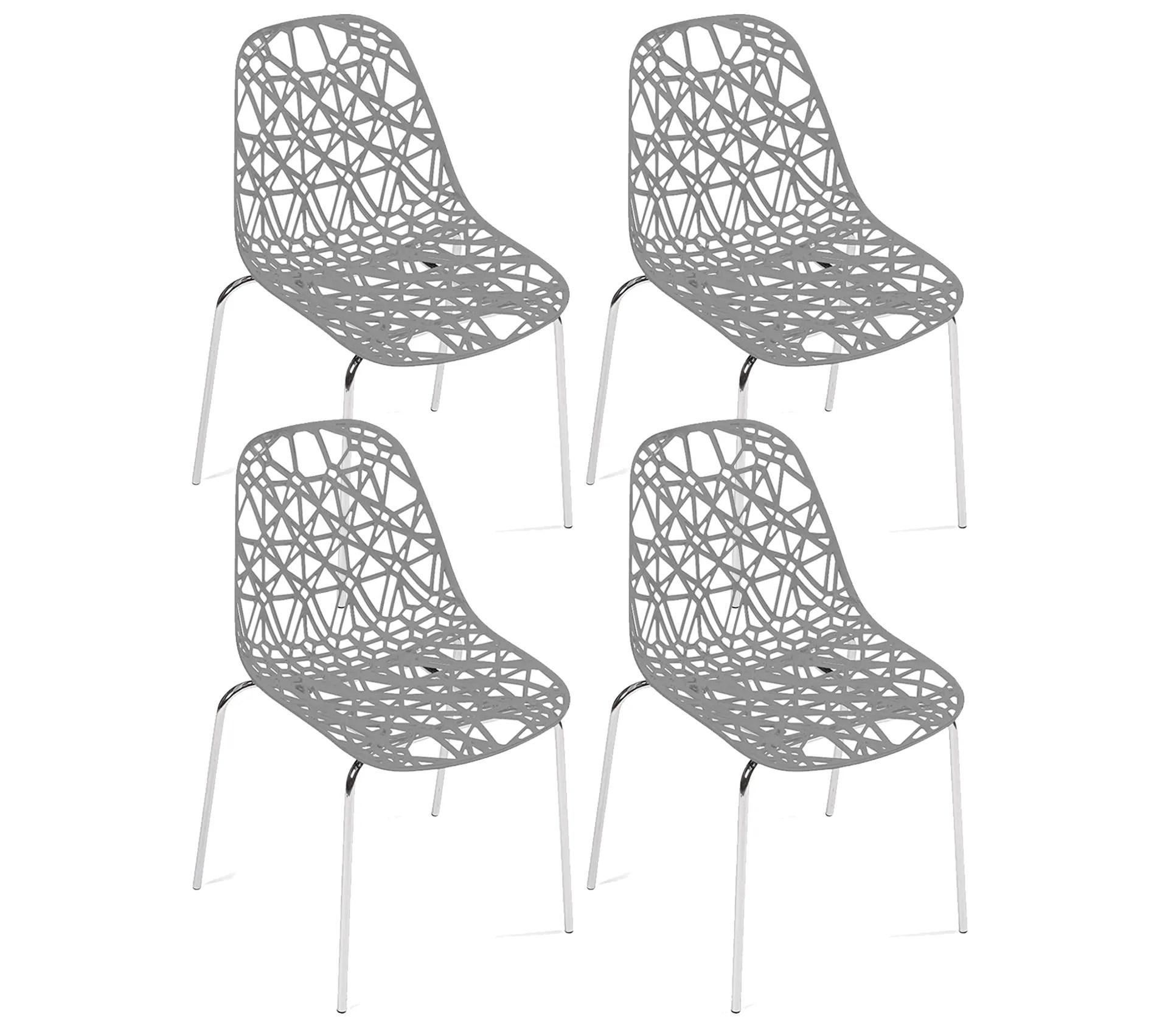 lot de 4 chaises de cuisine design moderne iko gris
