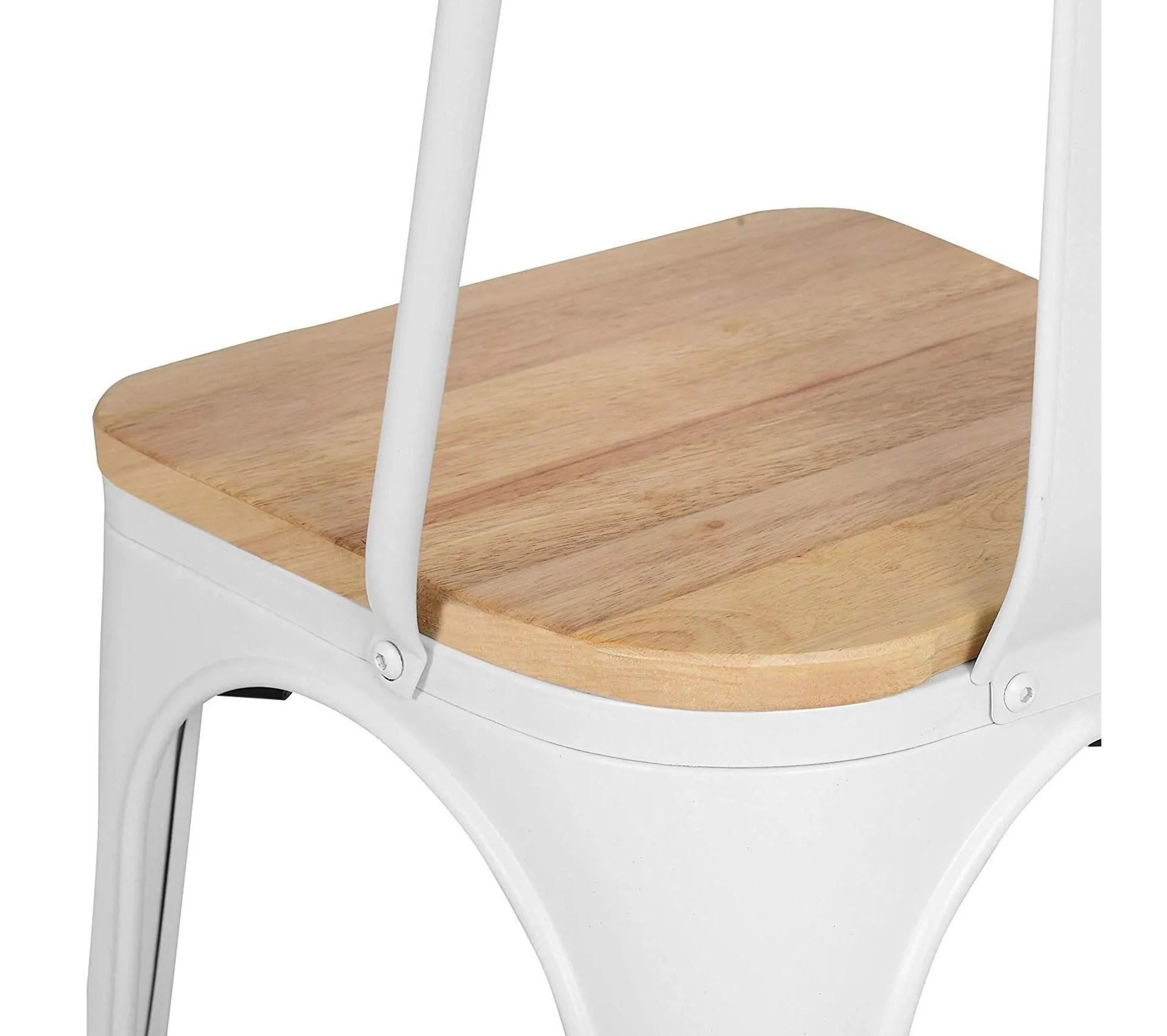lot de 4 chaises blanches en metal et bois clair style industriel factory en metal blanc mat