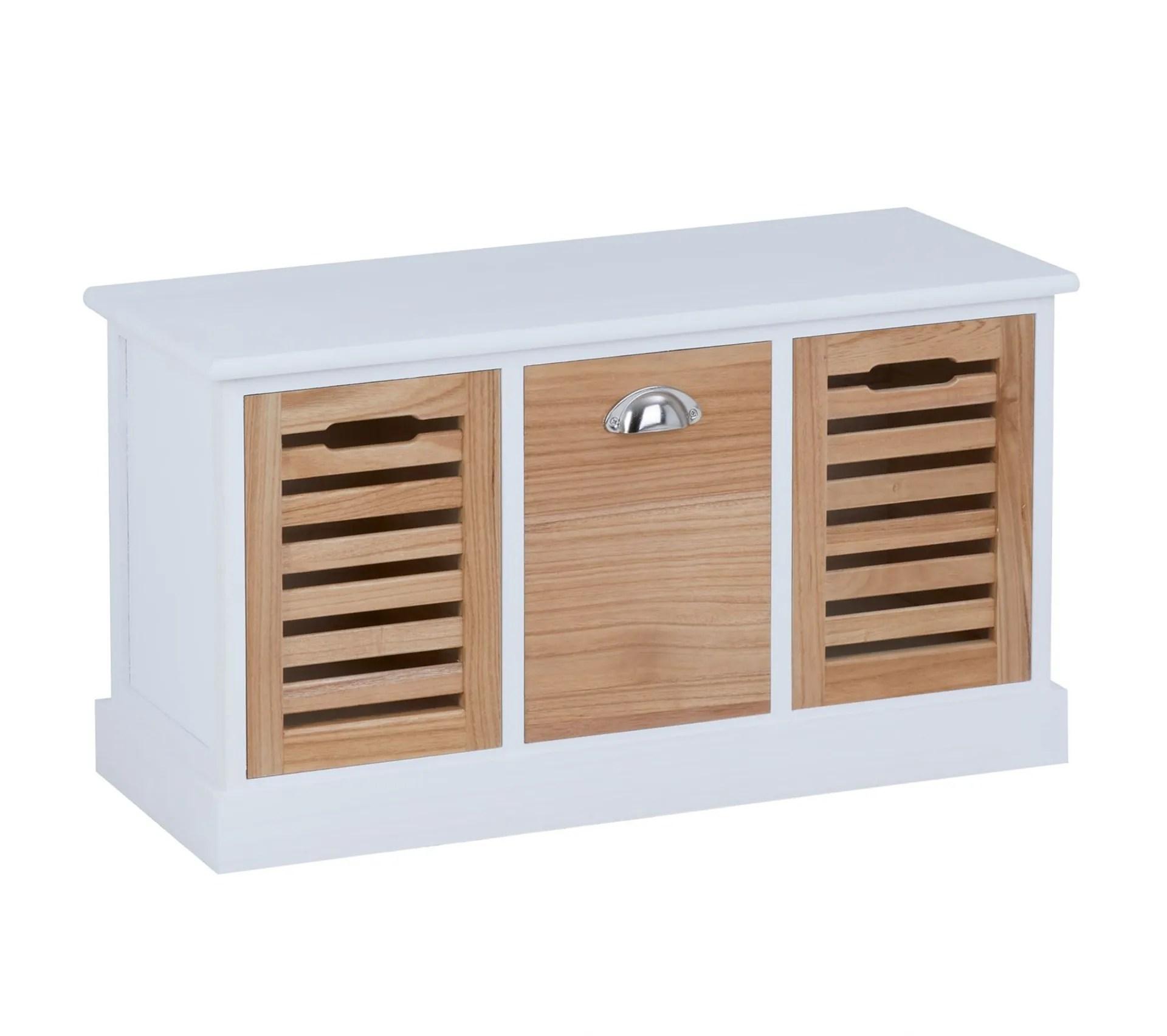 banc de rangement trient 3 caisses blanc et finition bois naturel