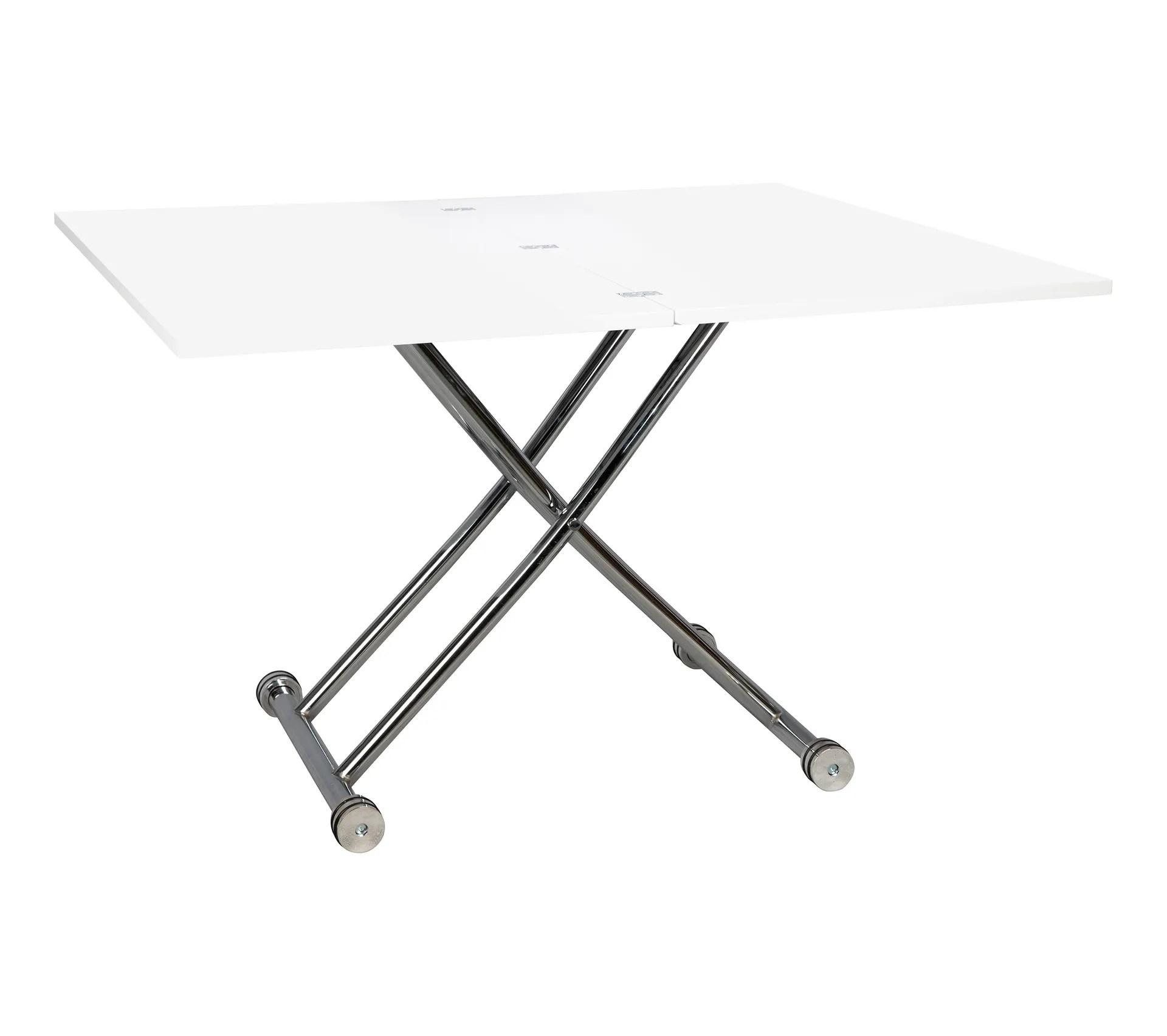 table relevable 2 en 1 recto 2 blanc laque