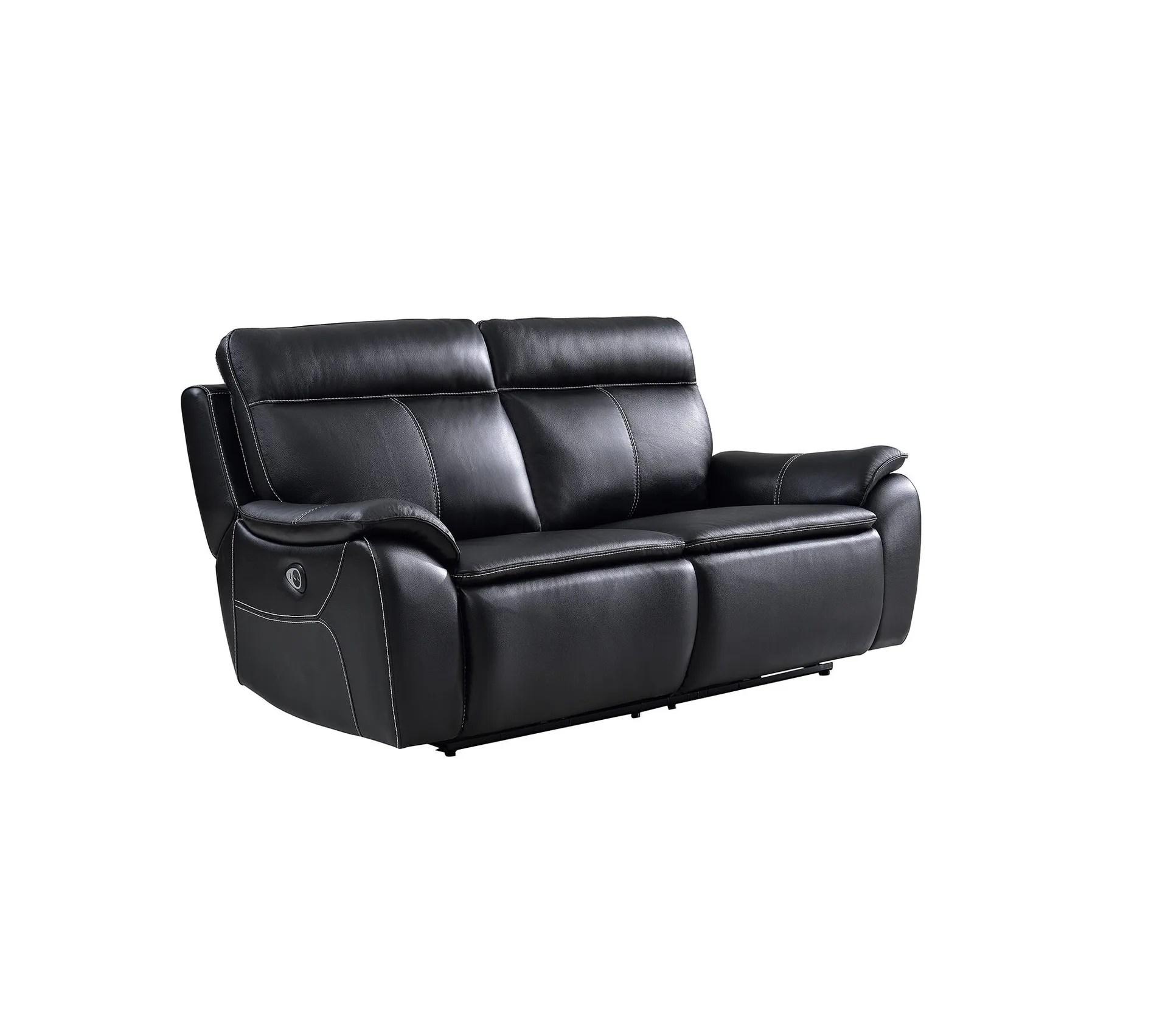 canape 3 places 2 relax electriques austin cuir et pu noir