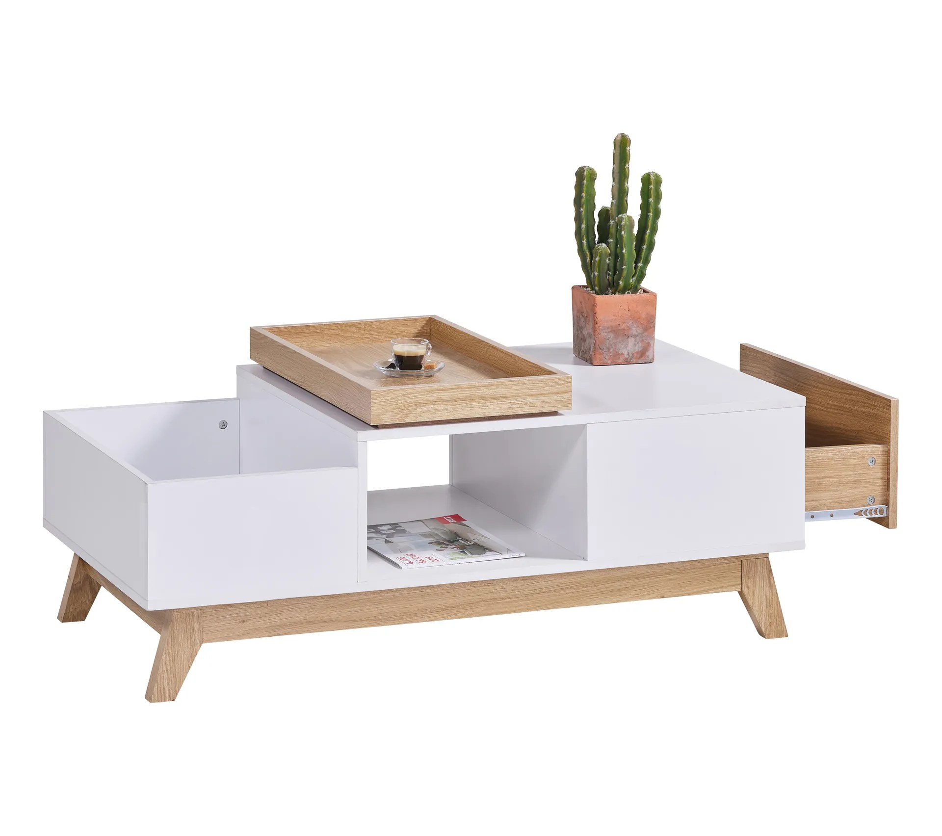 table basse scandinave cleo blanc imitation chene