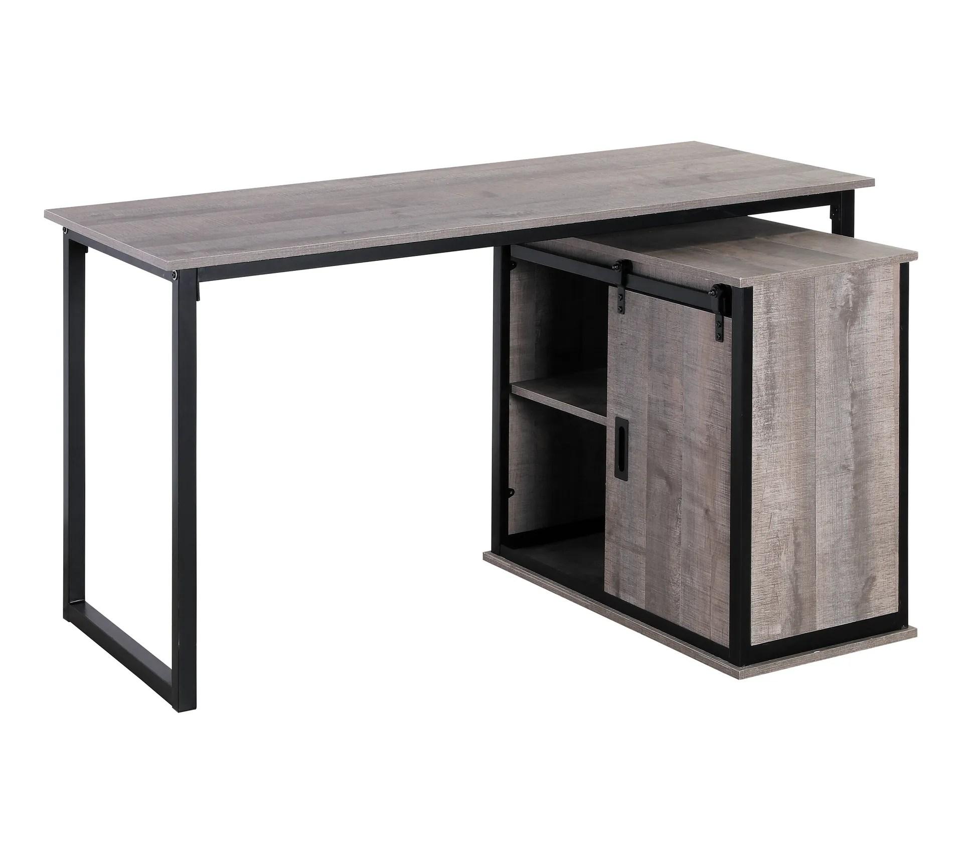 bureau dangle avec rangement nevada imitation chene gris et noir
