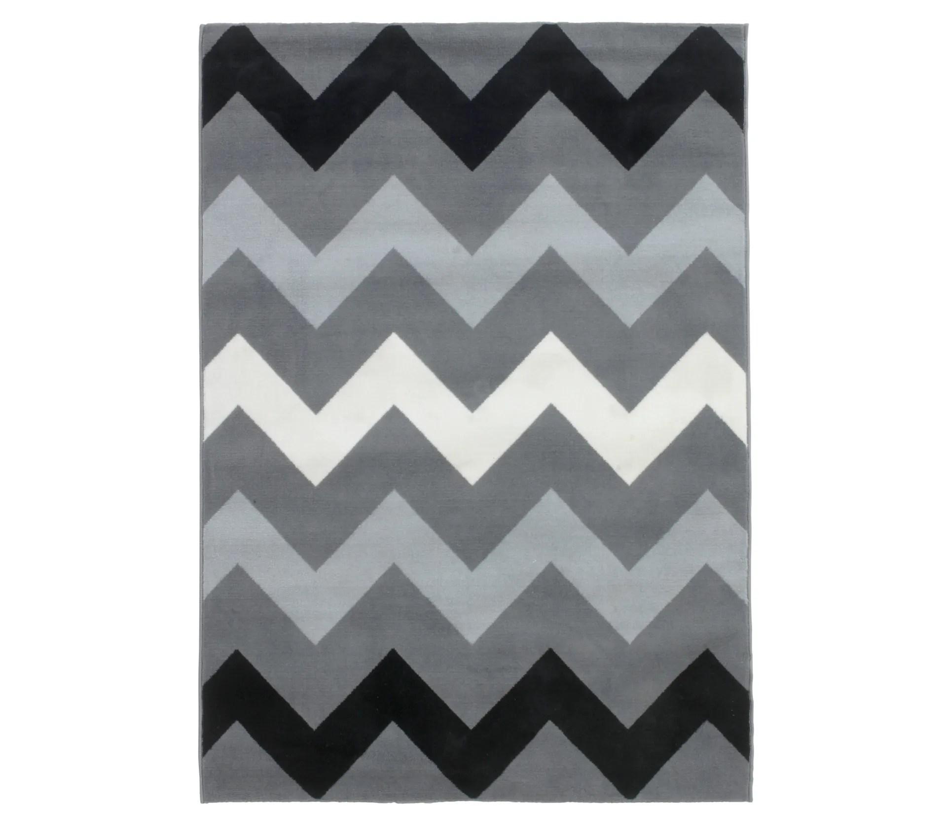 tapis 60x110 cm zigzag gris noir