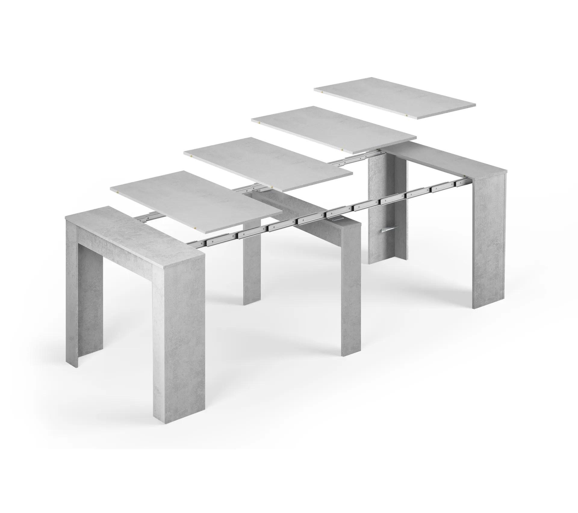 table console extensible alga avec rallonges jusqua 237 cm gris beton