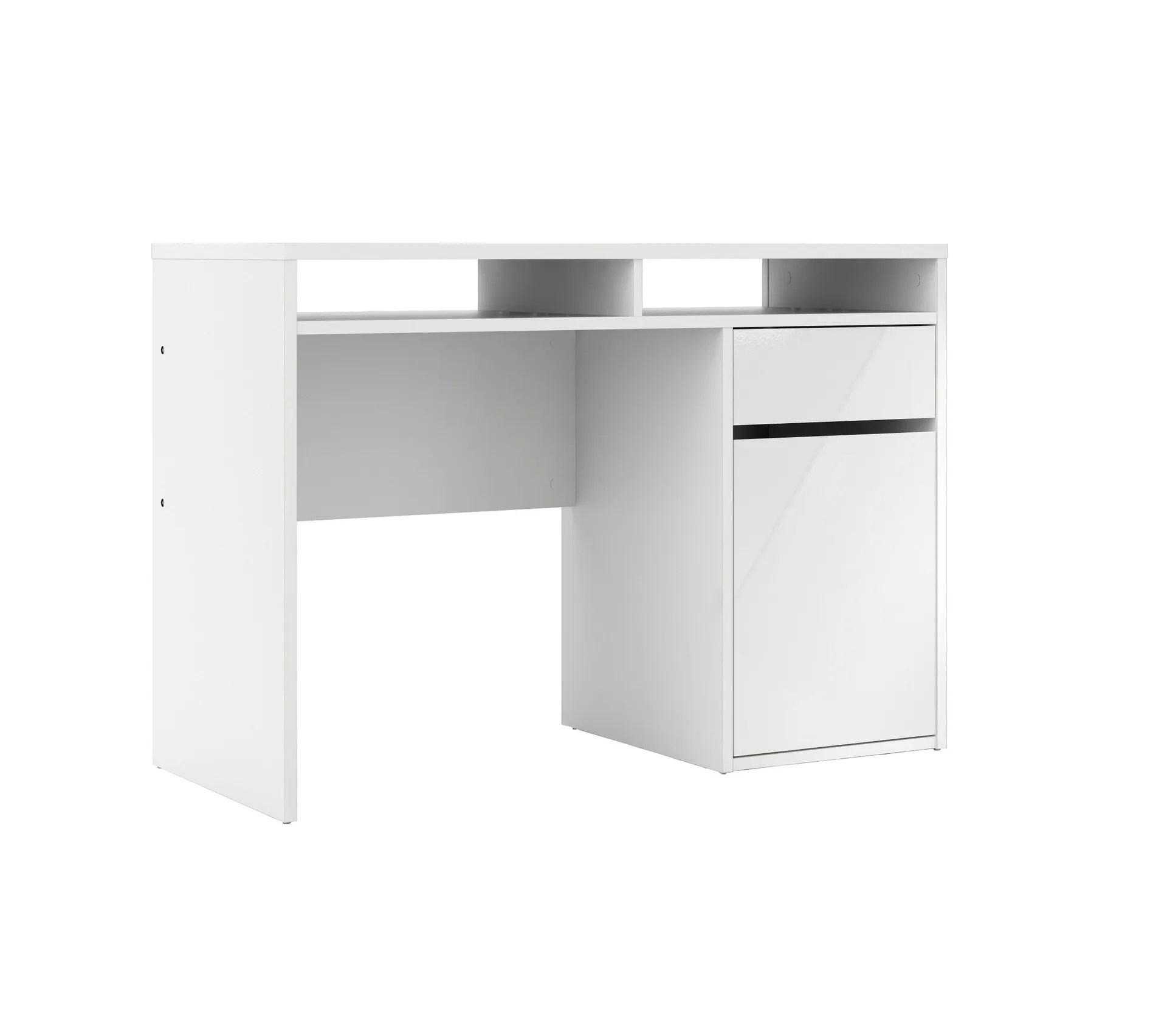 bureau 1 porte et 1 tiroir best lak 3 blanc laque