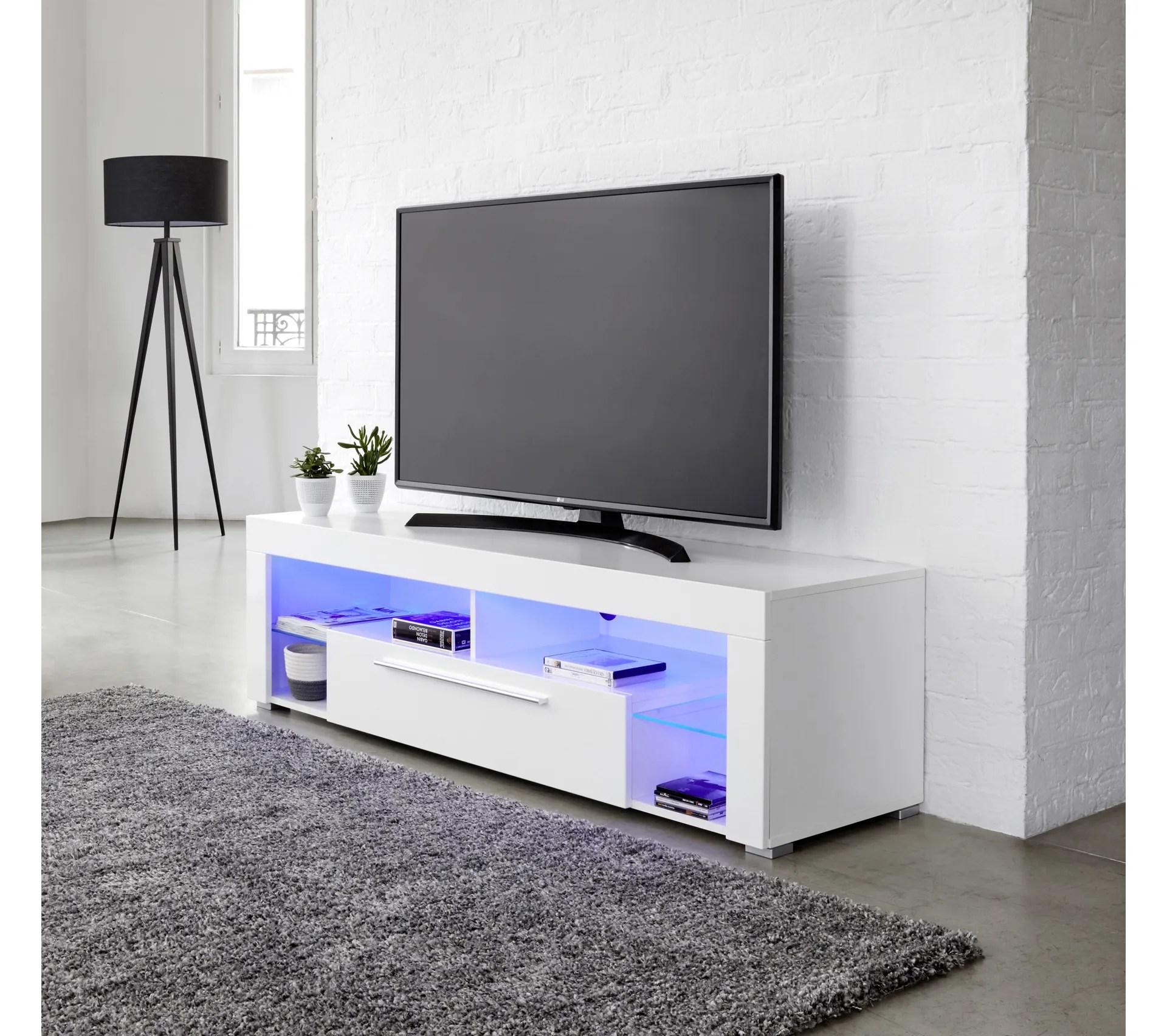 meuble tv avec led integree goal blanc brillant