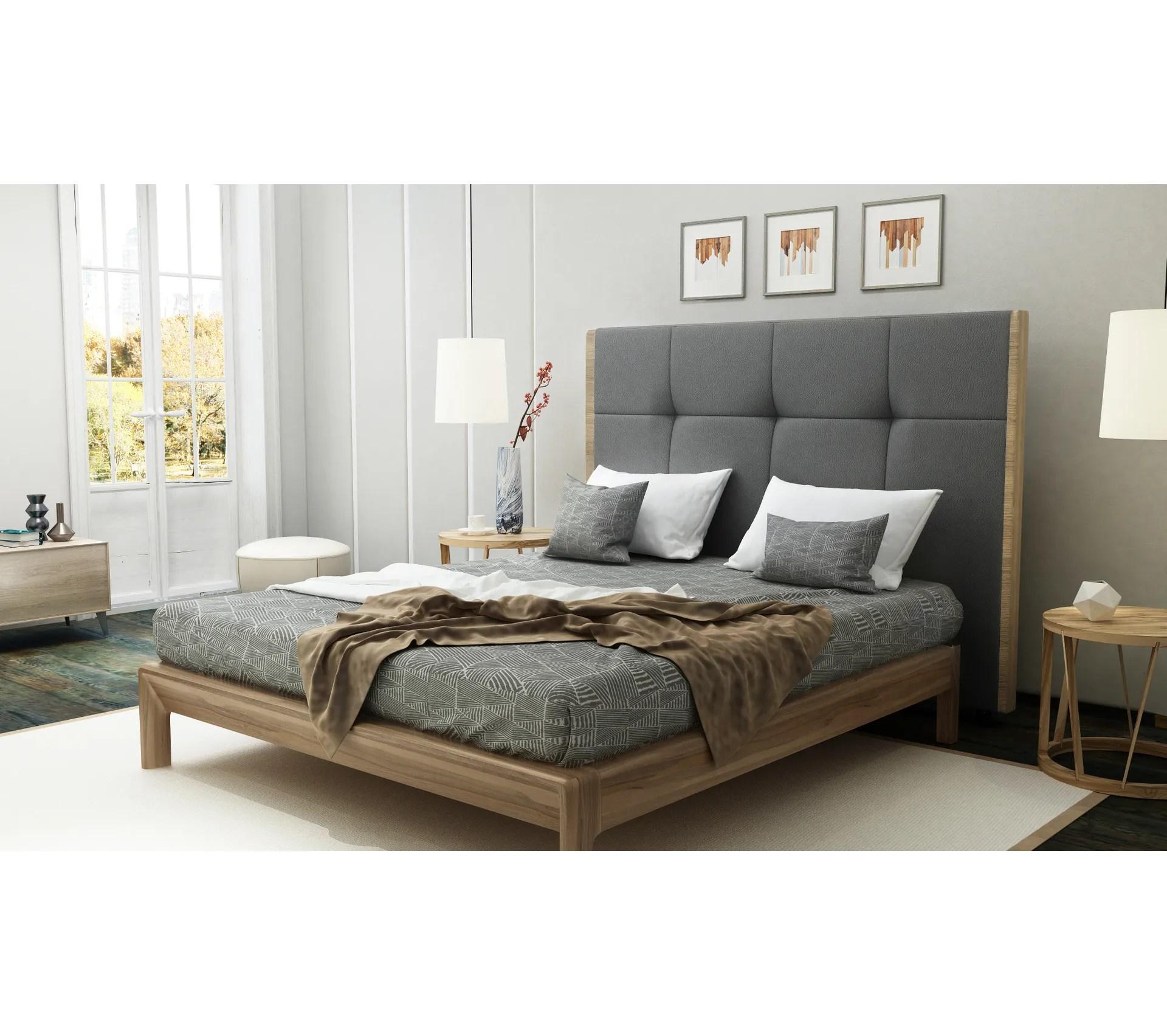 tete de lit l 160 cm cloe pu gris et imitation bois