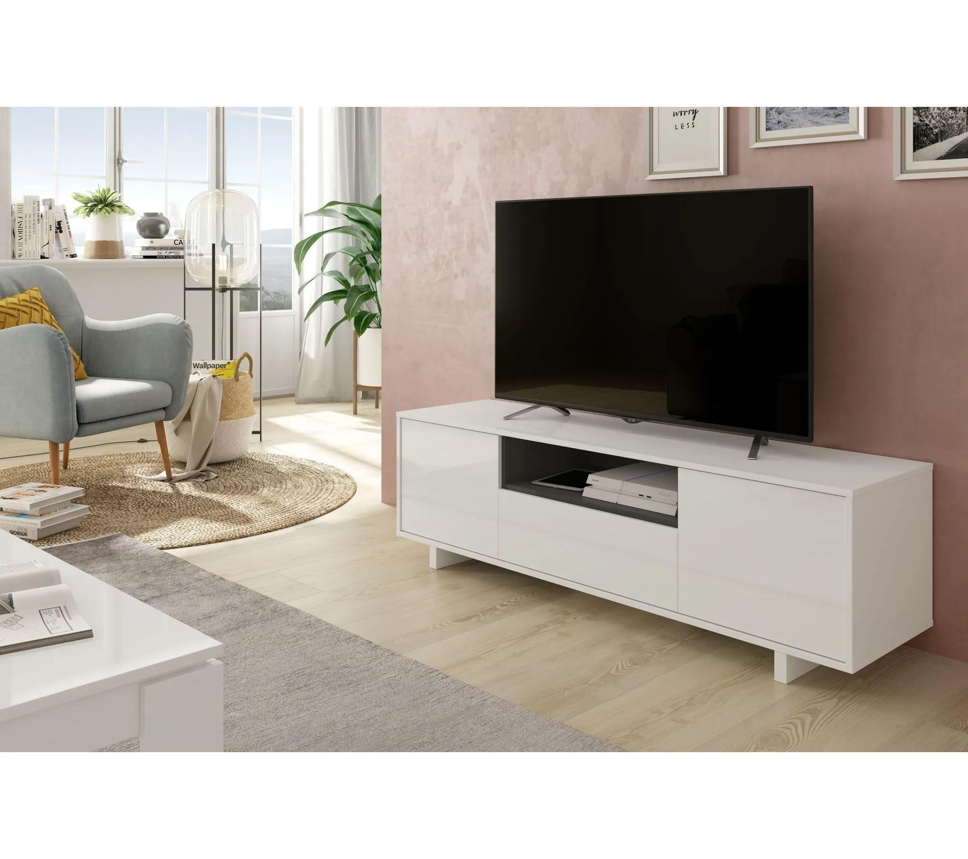 meuble tv ivar blanc et gris