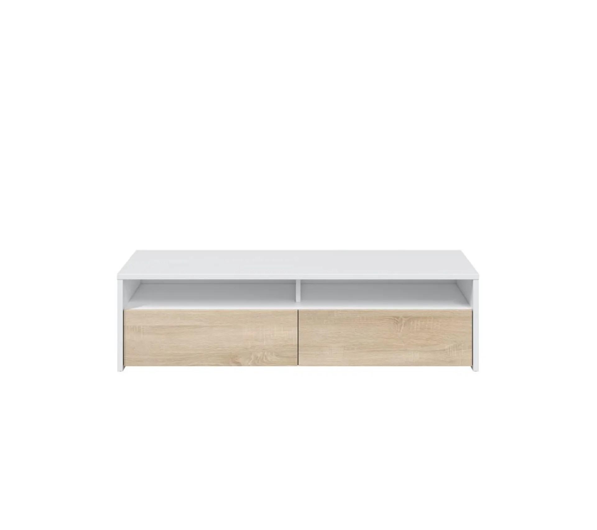 meuble tv scandinave kiot blanc et bois l 130 cm