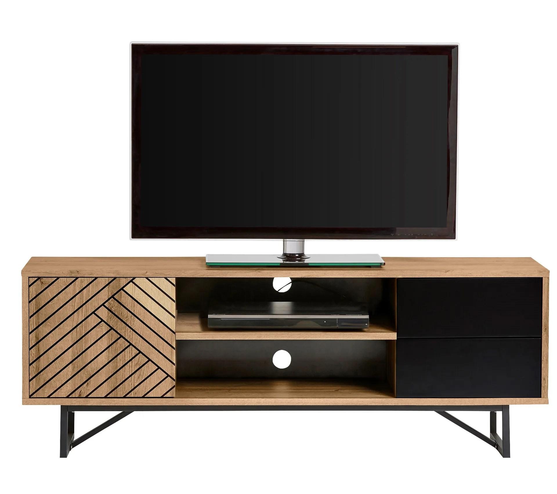 meuble tv industriel edea imitation chene et noir