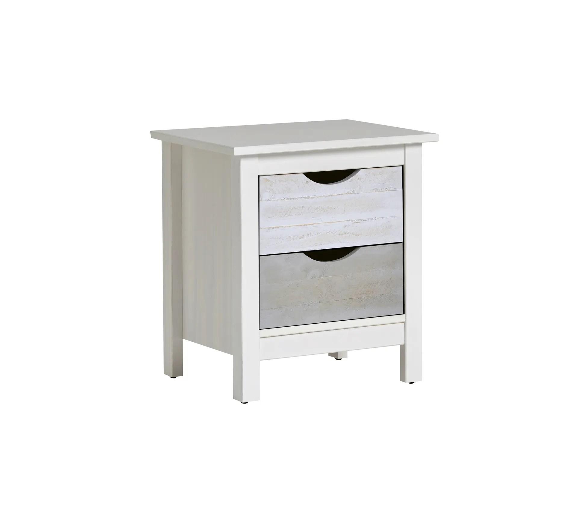 chevet 2 tiroirs sia blanc gris