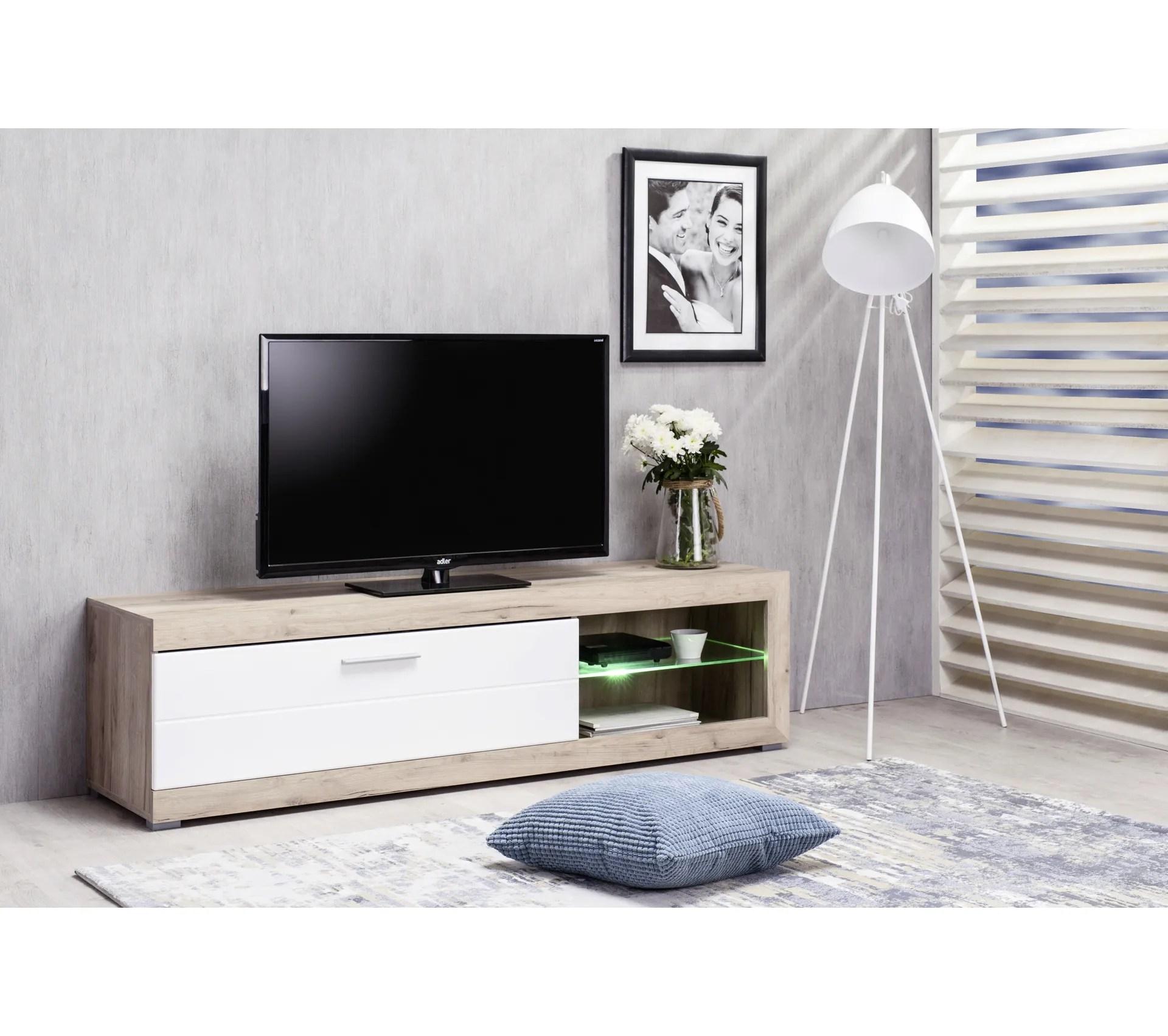 meuble tv remo imitation chene gris blanc
