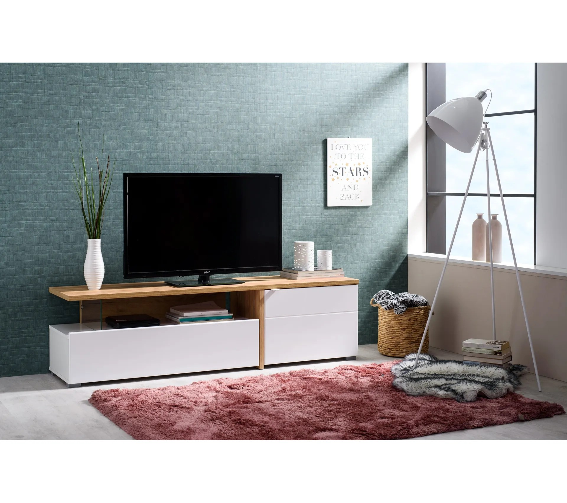 meuble tv pipa chene blanc