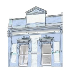 The Victorian building with what seems like fresh paint which has been chipped away here and there across its facade