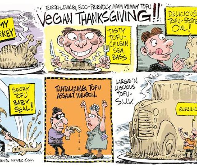 Tofu Thanksgiving Vegan Cartoon