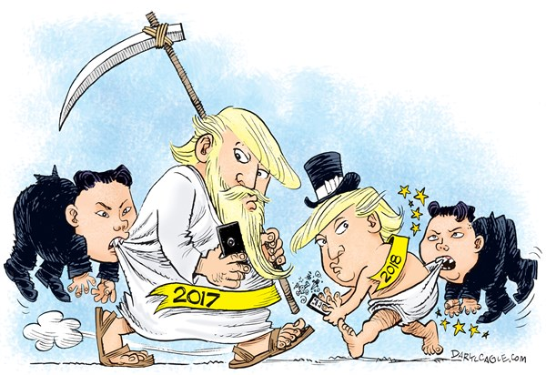 New Year Trump and Little Kim © Daryl Cagle,CagleCartoons.com,Donald Trump,president,old man time,baby,2017,2018,new year,newyear,Kim Jong Un,North Korea,donald trump 2017, new year 2018, trump twitter