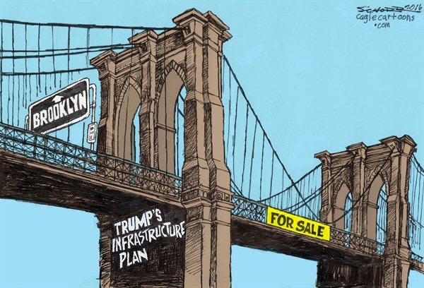Image result for cartoon's trump's infrastructure plan