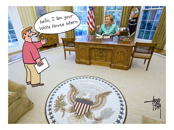 Arend Van Dam - politicalcartoons.com - White House Intern - English - Hillary Clinton, president, Oval Office, White House, White House Intern, elections, Monica Lewinsky, Bill Clinton, sex