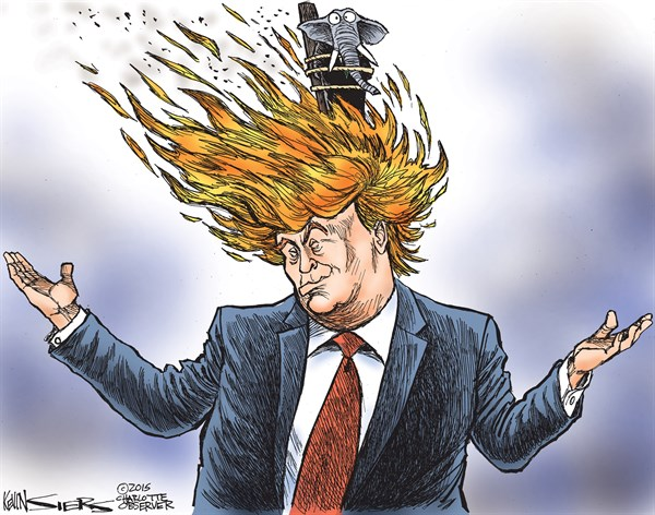 Image result for caricature trump on fire