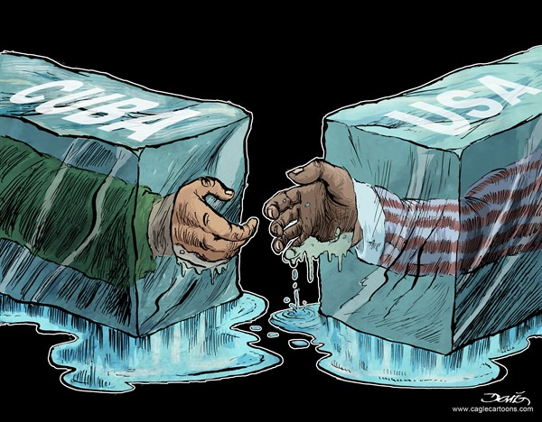 Dario Castillejos - Diario La Crisis - USA Relationship with Cuba - English - President Barack Obama,Raul Castro,Cuba,America,handshake,cold war,ice,diplomatic relations