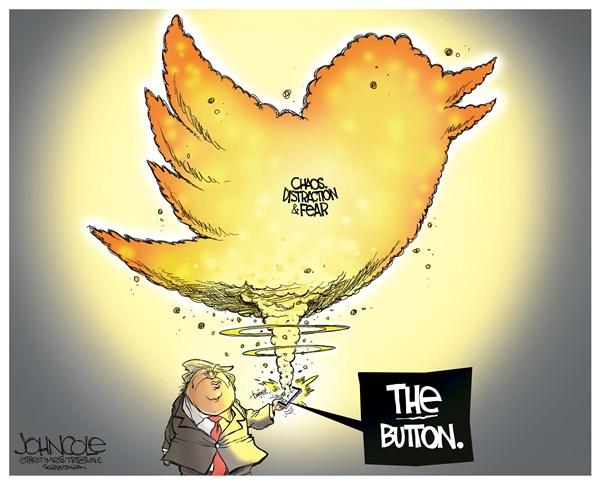 Trump's button, John Cole,The Scranton Times-Tribune,the button, red button, button, donald trump, north korea, kim jong-un, nuclear war, nuclear weapons, social media, twitter