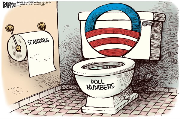 Rick McKee - The Augusta Chronicle - Obama Toilet COLOR - English - Obama, toilet, scandals, AP Phone Records, Benghazi, IRS, Tea Party, conservative groups, polls, poll numbers