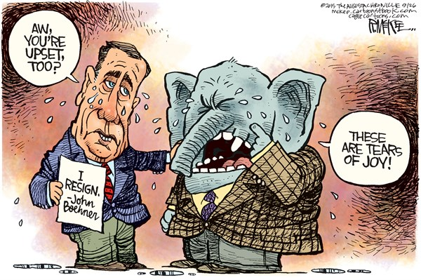 Boehner Quits © Rick McKee,The Augusta Chronicle,Boehner, resigns, Speaker, Congress, GOP, Republican
