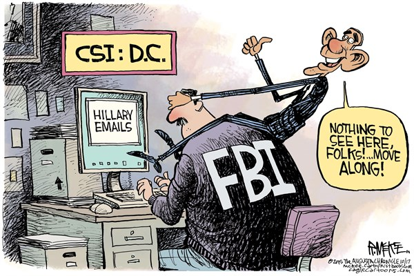 Image result for cartoons FBI clinton emails and clinton foundation