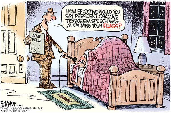 Terror Speech, Rick McKee,The Augusta Chronicle,Obama, ISIS, terrorism, terror, San Bernardino