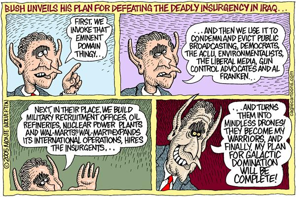 Bush and Iraq war, cartoon