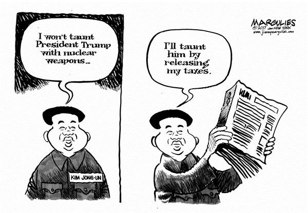 Jimmy Margulies - Politicalcartoons.com - Trump and Kim Jong un - English - Trump, Kim Jong un, North Korea, North Korea nukes, China, Donald Trump, President Trump, Trump taxes