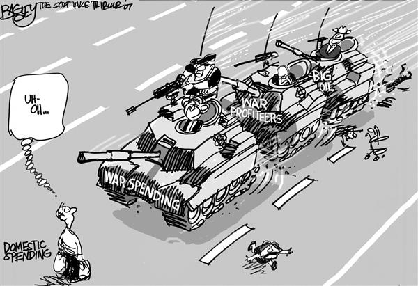 US war profiteers in Iraq, cartoon