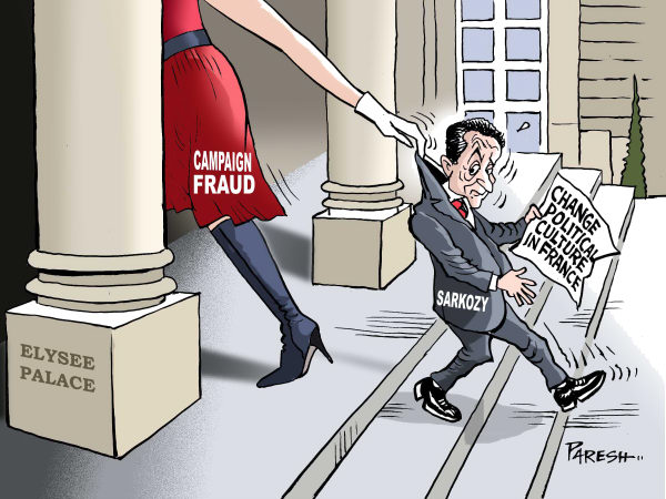 Sarkozy's campaign fraud, cartoon by Paresh