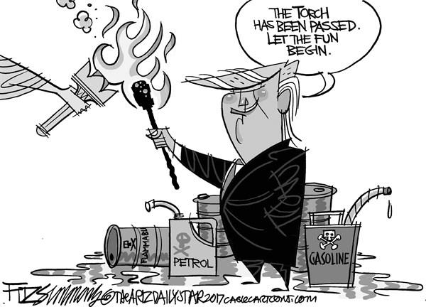 David Fitzsimmons - The Arizona Star - The torch has passed - English - Trump, inauguration