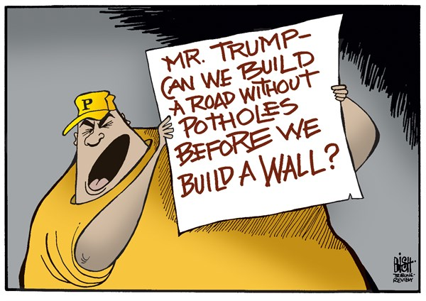 Image result for cartoons of trump and infrastructure
