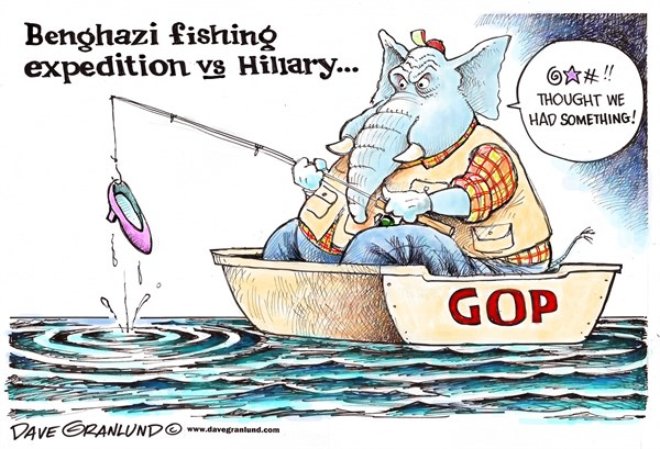 Dave Granlund - Politicalcartoons.com - Benghazi fishing expedition - English - GOP, committee, republicans, conservatives, gowdy, Hillary, Clinton, emails, partisan, political, witch hunt, grilling, sec of state