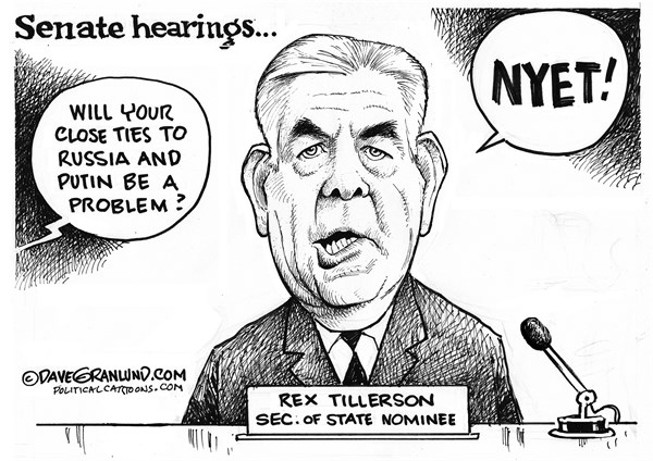 Tillerson at the Senate Confirmation Hearing Cartoon