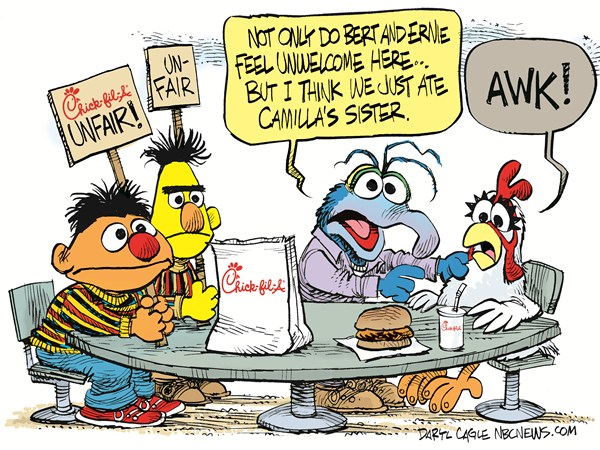 Chick Fil A Muppets © Daryl Cagle,MSNBC.com,Jim Henson,Muppets,Gonzo,Bert,Ernie,Sesame Street,Chick-Fil-A,Camilla,Gonzo,cannibalism,chicken,Chick-fil-A Cartoons, Fight Over Gay People