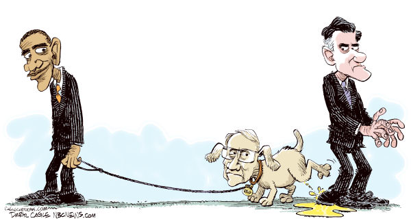 Obama Attack Dog © Daryl Cagle,MSNBC.com,Barack Obama,Senator Harry Reid,Mitt Romney,President,Presidential election,Campaign 2012,dog,pee,urine,attack,taxes,tax return