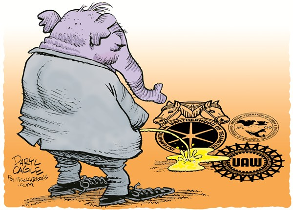 Right to Work Pee © Daryl Cagle,CagleCartoons.com,ssGOP,Republican,elephant,urine,union,United Auto Workers,UAW,AFL-CIO,Teamsters,pee