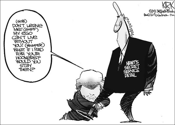 Newts Secret Service © Kirk Walters,Toledo Blade,newt,secret service,hookers,sex,government