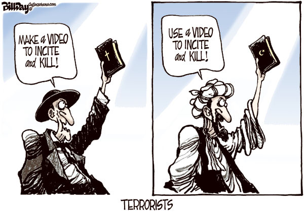 Holy Book Bigots © Bill Day,Cagle Cartoons,mideast, Bible, Koran, video, terrorists