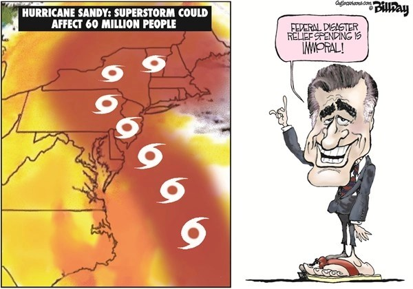 IMMORAL © Bill Day,Cagle Cartoons,Romney, Hurricane Sandy, immoral, federal spending